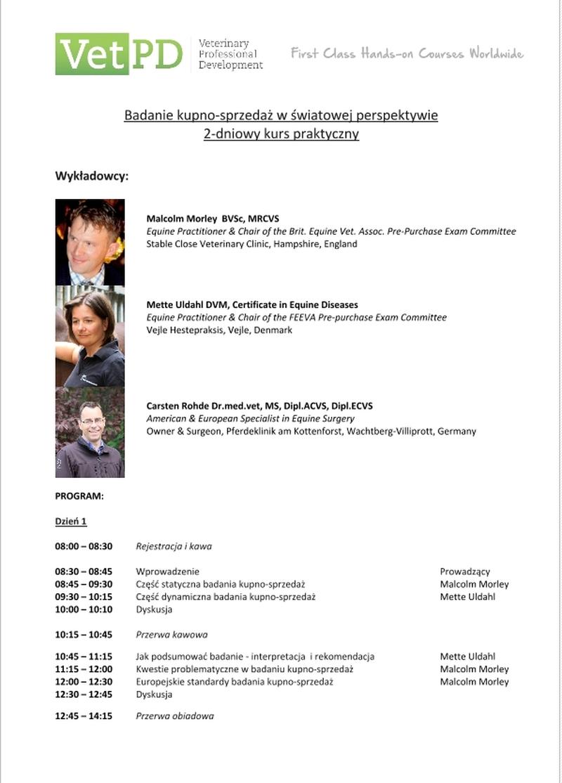 Program marcowego szkolenia VetPD